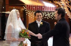 "FRIENDS -- NBC Series -- Season 10: ""The One With Phoebe's Wedding"" -- Pictured: (l-r) Lisa Kudrow as Pheobe, Matt Le Blanc as Joey, Paul Rudd as Mike -- Photo: Copyright 2004 Warner Bros. Television Production Inc. These photographs, which are the copyrighted material of Warner Bros. Television Production Inc., are being submitted to you for only the following limited purpose: for publicity, promotion or advertising of the series ""Friends"". You must obtain all other authorizations, consents and releases (other than copyright permission which we have granted to you as set forth herein) and pay all compensation required by any applicable collective bargaining agreement, any individual agreement or otherwise required by law. These photographs are not transferable, may only be used until May 31, 2004 and may not be used in any ""special"" or ""stand alone"" issues of your pulications without prior written permission. Your use of these photos shall constitute acceptance of the above terms."